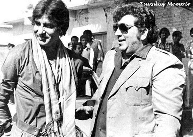 "Amitabh with Amjad Khan during the resumption of ""Coolie"""
